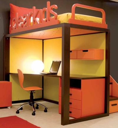 Оранжевая мебель для школьника в стиле минимализм